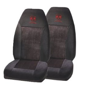 Show details of A Set Of 2 Universal-Fit Front Bucket Seat Cover - Red Dodge Ram Logo.