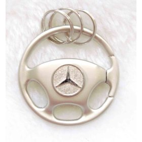 Show details of Metal Steering Wheel Shape Keyhain with 3D Mercedes-Benz LOGO.