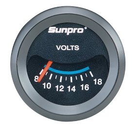 Show details of Sunpro CP7985 CustomLine Electrical Voltmeter - Black Dial.