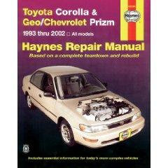 Show details of TOYOTA COROLLA & GEO/CHEVROLET PRIZM 1993-2002 (Haynes Manuals) (Paperback).